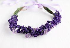 Purple Floral Crown, Spring Head Wreath, Flower Girl Halo, Boho Floral Crown, Woodland Crown, Wedding Floral Crown, Purple Hair Garland on Etsy, $28.00