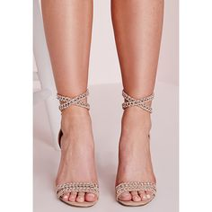 Missguided Chain Strap Barely There Heeled Sandals Pink ($51) ❤ liked on Polyvore featuring shoes, sandals, blush, chain sandals, lacy shoes, lace heel sandals, pink high heel sandals and pink shoes