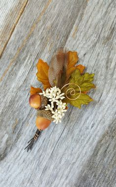 Autumn Oak Leaf and Acorn Wedding Boutonniere