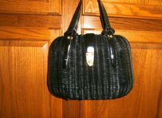 VINTAGE LARGE BLACK WOVEN WICKER BASKET PURSE by LEWIS HONG KONG UNIQUE! http://r.ebay.com/uoLRXQ