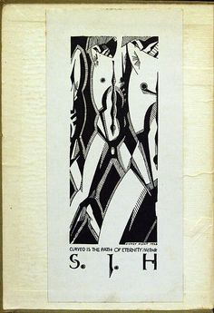 Bookplate by Sidney James Hunt (1896-1940) for his personal library. Sidney Hunt was a British draughtsman, painter, poet and editor who published the avant-garde journal Ray between 1926 and 1927. He is considered a pioneer of British modernism.