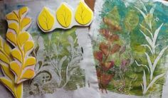 I got so absorbed that then I had to make a few foam stamps. And I couldnt stop there. I had to see how they would look on fabric so I hauled out my fabric paint and the Gelli. -- Through My Window, Holly M