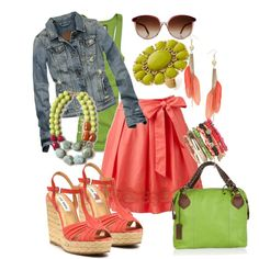 Love the coral and green colors together...maybe something for this summer.