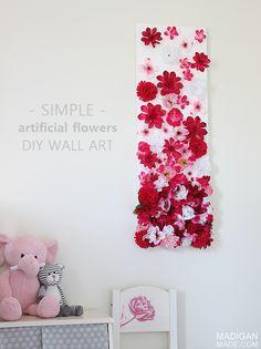 Modern DIY artificial silk flower wall art for girls nursery