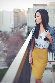 ExtraPetite.com - Dressed down pencil skirt.