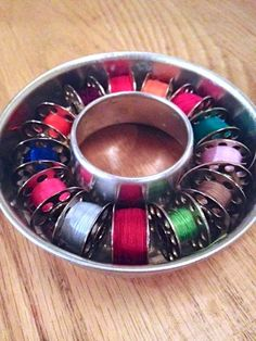 bobbin organization using mini ring molds from Sew Many Ways