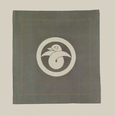 "Silk Gift Cover, Taisho (1912-1926). A silk fukusa featuring a large family crest called ""knotted goose"": a crest rarely seen on textiles. 20"" x 21"". Yorke Antique Textiles"