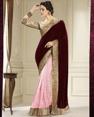 Pink & Maroon Color Half Velvet & Half Georgette Party Wear Sarees : Amrani Collection YF-32991
