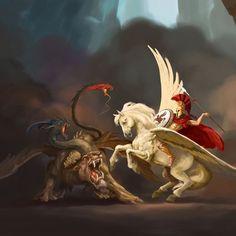 BELEROFONTE E SEU CAVALO VOADOR (2/3)  QUIMERA É caracterizada por uma aparência híbrida de dois ou mais animais e a capacidade de lançar fogo pelas narinas. Segundo as lendas, teria cabeça e corpo deleão, com duas cabeças anexas, uma decabrae outra dedragão; uma cauda de serpente e outra de leão. Teria duas asas, semelhantes às de um dragão, ligadas ao seu corpo de leão. Apesar de aparentemente não voar, algumas lendas mencionam o fato de poder voar. Assolou o reino de Cária e o de…