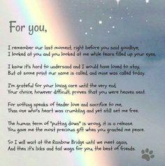 Rainbow Bridge poem from dog Pet Loss Quotes, Sleep Quotes, Puppy Quotes, Pet Loss Grief, Loss Of Dog, Pass Away Quotes, Rainbow Bridge Poem, Pet Poems, Dog Passed Away