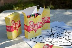Butterfly Coloring Pages: Custom coloring pages — with covered-crayon boxes — were just one of the activities planned for the lil guests. Source: Tradewind Tiaras