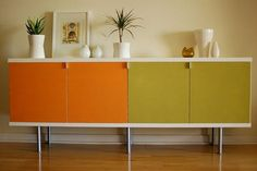 Furniture, Colorful Designs Picture Decoration White Color Wall Picture Some Drawer Credenza Picture Orange And Green Color Picture Frame Small Green Plants: What Is A Credenza That Suitable As Your Furniture At Home To Make It Looks More Beautiful