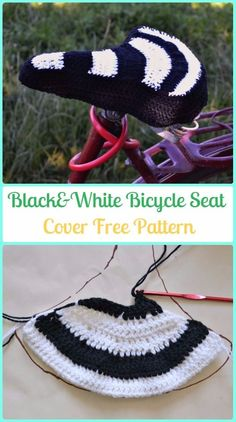Crochet Black&White Bicycle Seat Cover Free Patterns - Crochet Bicycle Fashion Patterns