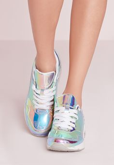 Look totally hot and own that treadmill at the gym in these bubble detail trainers, featuring holographic detail in a lace up style.