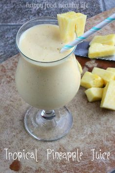 Tropical Pineapple Juice - Getting all your fruits in during the day can be rough. But with this juice, you can get all your servings in one glass. Healthy Juices, Healthy Smoothies, Healthy Drinks, Healthy Snacks, Healthy Recipes, Breakfast Smoothies, Avocado Recipes, Breakfast Recipes, Vegetarian Recipes