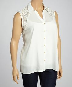 Look what I found on #zulily! White Floral Lace Sleeveless Button-Up Top - Plus #zulilyfinds