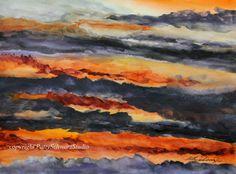 """""""Toward Nightfall"""" watercolor 12 x 16 inches © Patty Schwarz www.pattyschwarzstudio.com"""