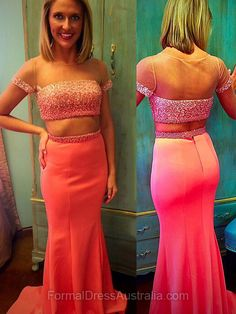 Long Formal Dresses Pink, Two Piece Formal Dress Train, Mermaid Party Dresses Trumpet, Newest Evening Dresses