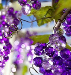 Purple grapes in glass