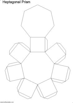 Paper model of a heptagonal prism. The heptagonal prism is made of two heptagonal bases and seven rectangular sides. Nets (templates) and pictures of the paper heptagonal prism. Cardboard Crafts, Paper Crafts, Preschool Forms, Geometric Construction, Shape Sort, Geometry Activities, Shape Templates, Drop Cloth Curtains, Arts And Crafts