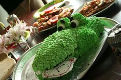 Peter Pan Party cake!  Tick Tock the alligator eating the clock!
