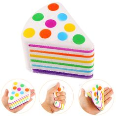 Squishy Rainbow Cake Squeeze Healing Fun Kid Toy Gift Stress Reliever Decor for Cellphone