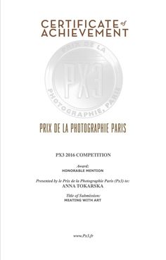 "PX3 Prix de la Photographie Paris 2016 Honorable Mention in category for proffesionals for series ""Meating with art"" ""Meating with art""  ANNA TOKARSKA PHOTOGRAPHY ⓒ"