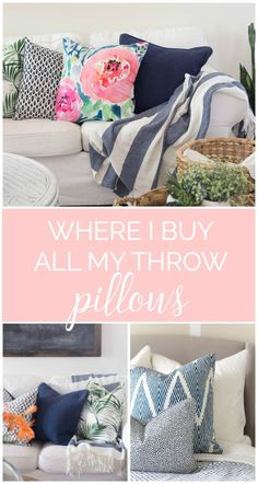 WOW this girl reveals all of her throw pillow sources. Some of them are only $6! Where to buy throw pillows - awesome!