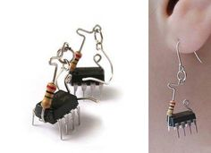 Recycled computer parts......as earrings