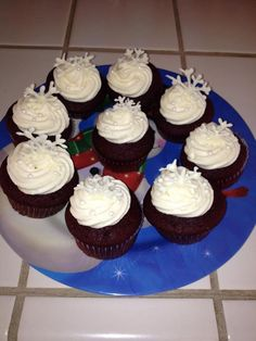 Winter Red Velvets - Red Velvet Cupcakes with White Chocolate Cream Cheese Frosting and White Chocolate Snowflakes