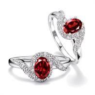 Sterling Silver Genuine Garnet Ring