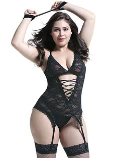 8e1299adfd168 nyou Plus Size Lingerie Sets Stretchy Lace Women Lingerie Chemise Nightwear  With Hand-Cuff,