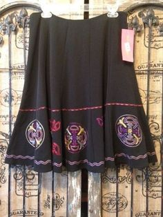 Sunny Leigh Black Embroidered Boho Ethnic A-Line Skirt $89 Macy's NWT 12  #SunnyLeigh #ALine