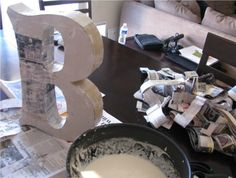 Awesome! How to make giant letters from cereal boxes and paper mache. I love it!--save some money this way!!!