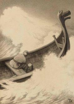 Page: Fuegl Dam Artist: Theodor Severin Kittelsen Style: Neo-Romanticism