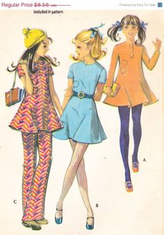 "CLEARANCE 1970s Vintage Girls Sewing Pattern Mod Dress and Pants McCall's 2554 Breast 30"""" by Sutlerssundries on Etsy"