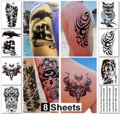 8 Sheets Temporary Tattoos for Guys for Men - Fake Tattoo, Biker Tattoos, Rocker Stickers for Arms Shoulders Chest & Back - Boys Tattoos Body Art Tattoo Sticker