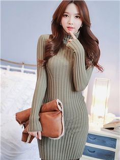Multi-colored Long Sleeve Turtle Neck Bodycon Dress
