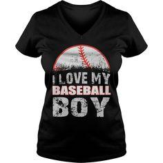 I love my baseball boy - baseball ladies v-neck, t shirts and hoodies  store