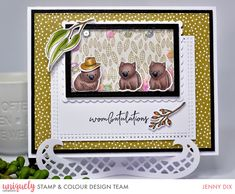 such a cute word to go with such a cute card! These little wombats are sooo freaking adorable. Card by DT Member with our new Aussie Stamp & Colour release, now open for pre-order Color Kit, Colour, Cute Words, Wombat, Creative Cards, Stampin Up, Stencils, Card Making, Frame
