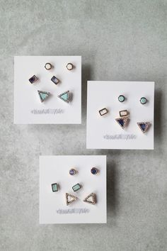 A trio of stone studs is better than just one! Each set of studs is on a post back. Details: - Post back - Set of three earrings