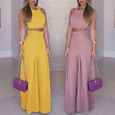 Cute Skirt Outfits, Cute Skirts, Traje Casual, Casual Suit, Fall Fashion Outfits, Womens Fashion, Looks Chic, Yellow Fashion, Wide Leg Pants