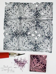 repeating pattern stamp carved by Julie FeiFan Balzer