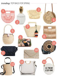 Lunchpails and Lipstick | Favorite bags for spring! bag trends for spring, rattan bags, translucent bags, chic bags, cult gaia bag