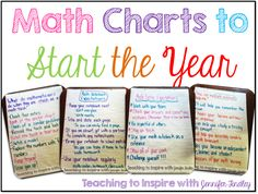 Math Anchor Charts to Start the Year Back to school tips on creating specific math charts to help you have a successful year in math instruction. These charts could be replicated for Literacy. Math Charts, Math Anchor Charts, Math School, School Tips, School Stuff, School Ideas, Fifth Grade Math, Fourth Grade, Grade 3