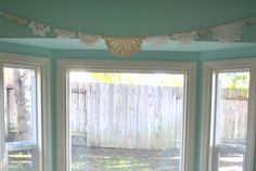 no-sew bunting with vintage fabrics and doilies