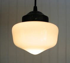 Minature Schoolhouse Milkglass PENDANT Lights by LampGoods on Etsy, $49.00    I remember these from the old school before the new one was built