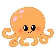 Octopus with Orange Body with Pink & White Polka Dots Cute Animal Clipart, Cute Cartoon Animals, Cute Clipart, Baby Animals, Cute Animals, Cute Animal Drawings, Kawaii Drawings, Easy Drawings, Kraken Octopus