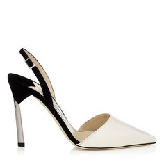 Jimmy Choo 'Devleen' Off White Patent And Black Suede Pointy Toe Sling Backs With Metallic Heel