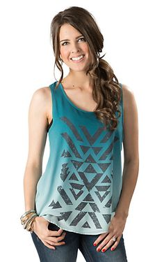 cc4f1fa074bc64 Rock  amp  Roll Cowgirl Women s Turquoise Ombre with Black Aztec Sleeveless  Fashion Tank Top Cowgirl